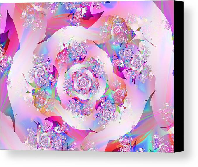 Fractal Canvas Print featuring the digital art First Rose by Vicky Brago-Mitchell