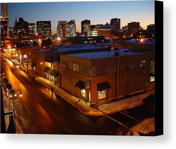 Night Canvas Print featuring the photograph First Street by Eric Workman