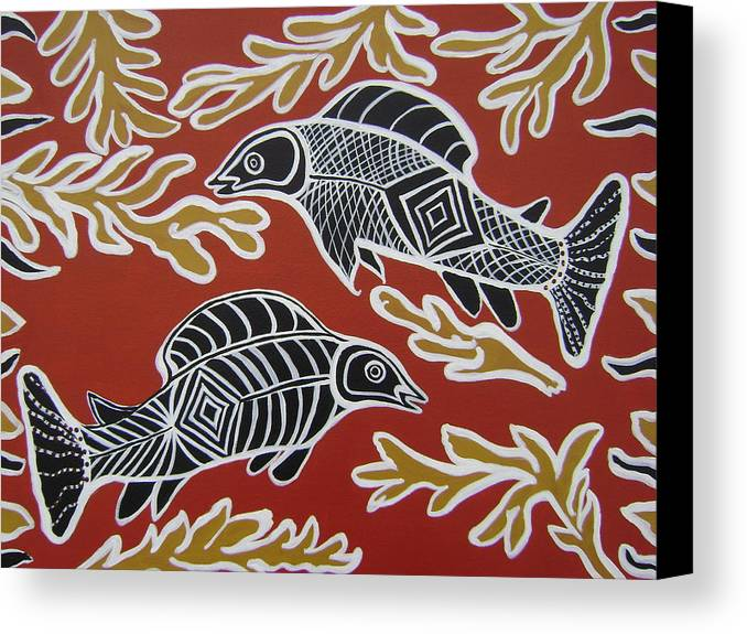 Fish Canvas Print featuring the painting Fish Dreamin by Laura Johnson
