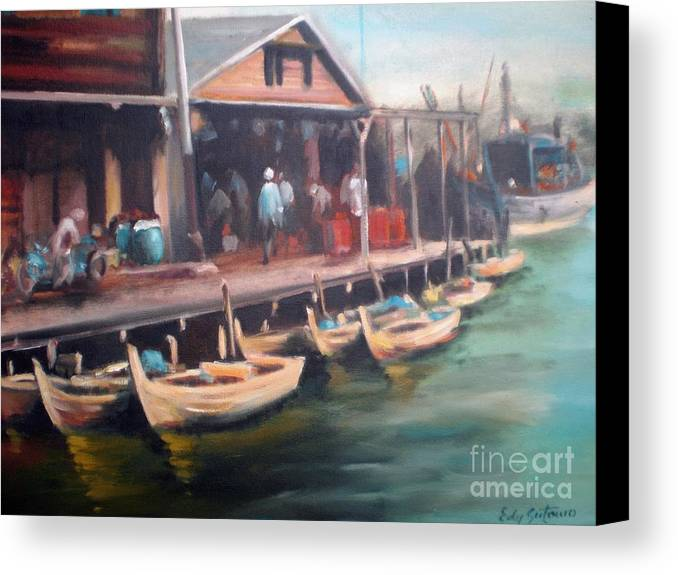 Landscape Canvas Print featuring the painting Fisher Village by Edy Sutowo