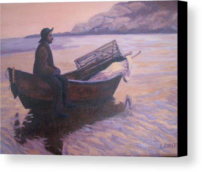Landscape/ Portrait Canvas Print featuring the painting Fisherman At Good Harbor Beach Gloucester Circa 1880 by Laura Roberts