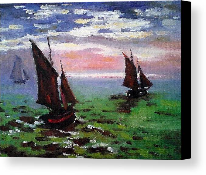 Claude Canvas Print featuring the painting Fishing Boats At Sea by Peter Kupcik