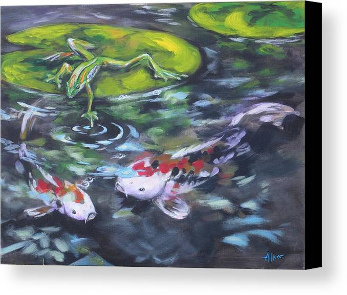 Koi Fish Water Waterscape Pond Lily Pad Nature Blue Red Green White Canvas Print featuring the painting Fishing For Trouble by Alan Scott Craig