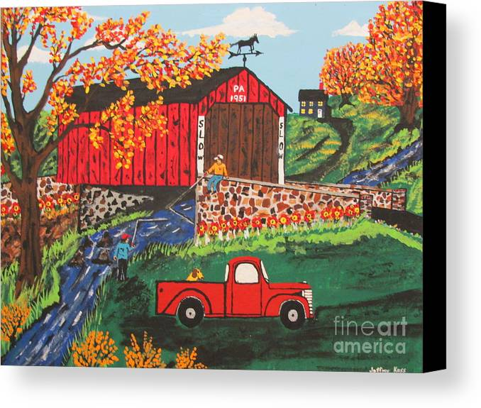 Country Art Canvas Print featuring the painting Fishing Under The Covered Bridge by Jeffrey Koss