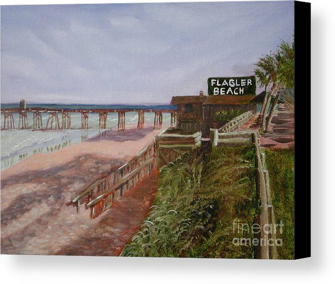 Landscape Canvas Print featuring the painting Flagler Beach Pier 1 by Sodi Griffin