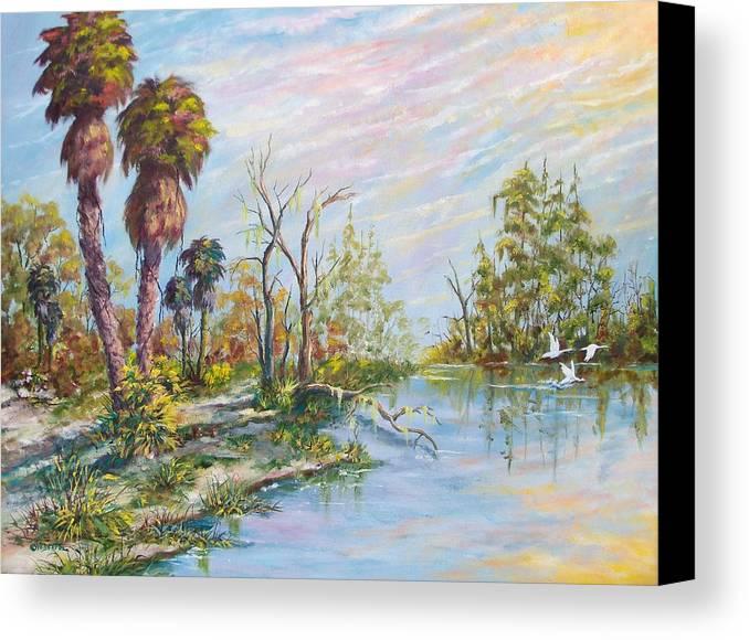 Landscape Canvas Print featuring the painting Florida Forgotten by Dennis Vebert