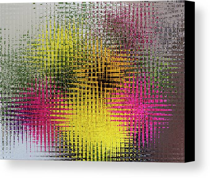 Digital-art Canvas Print featuring the digital art Flowers And Glass by David Bishop