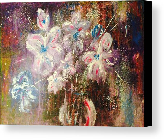 Bouquet Canvas Print featuring the painting Flowers by Colette Acra