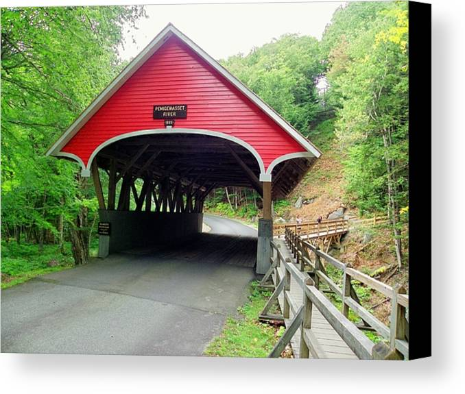 Nh Canvas Print featuring the photograph Flume Covered Bridge by Wayne Toutaint