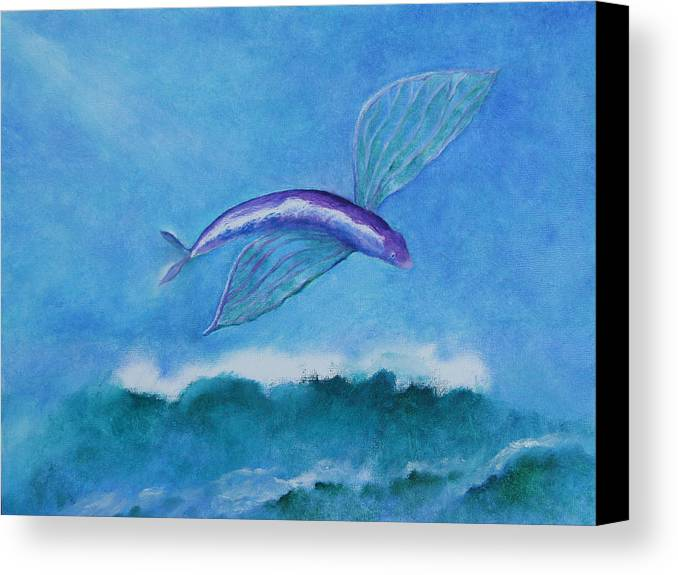 Fish Canvas Print featuring the painting Flying Fish by Rf Hauver