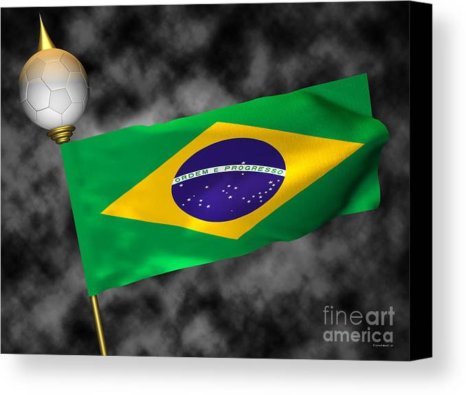 Fifa Canvas Print featuring the photograph Football World Cup Cheer Series - Brazil by Ganesh Barad
