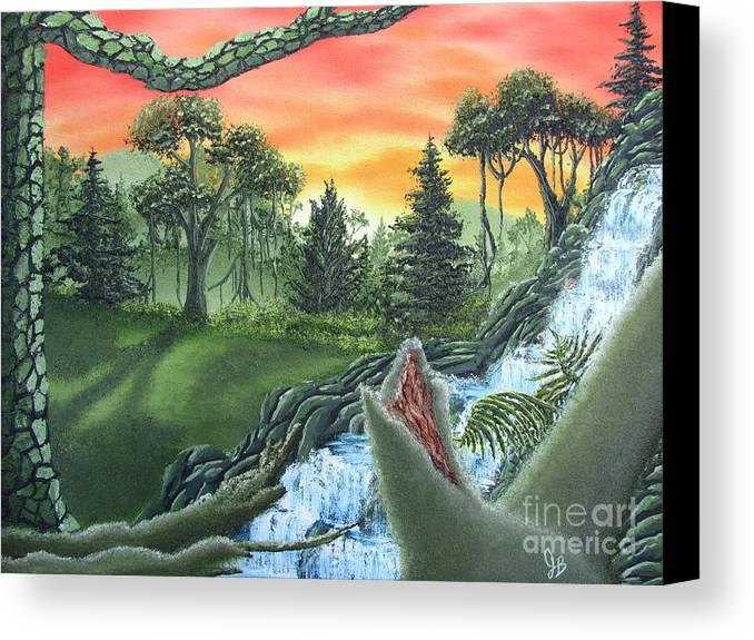 Forest Sunset Waterfall Canvas Prints Landscape Canvas Prints Painting Oldgrowth Boreal Forest Waterfall Cascade Paintings Nature Images Oldgrowth Forest Paintings Boreal Forest Paintings Appalachian Forest Paintings Forest Landscape Paintings Woodland Landscape Oil Paintings Mature Forest Sunset Paintings Fine Art Natural Landscape Oil Paintings Forest Waterfall Oil Paintings Forest Cascade Oil Paintings Forest Painting Prints Waterfall Painting Prints Natural Landscape Painting Prints Canvas Print featuring the painting Forest Sunset Cascade by Joshua Bales