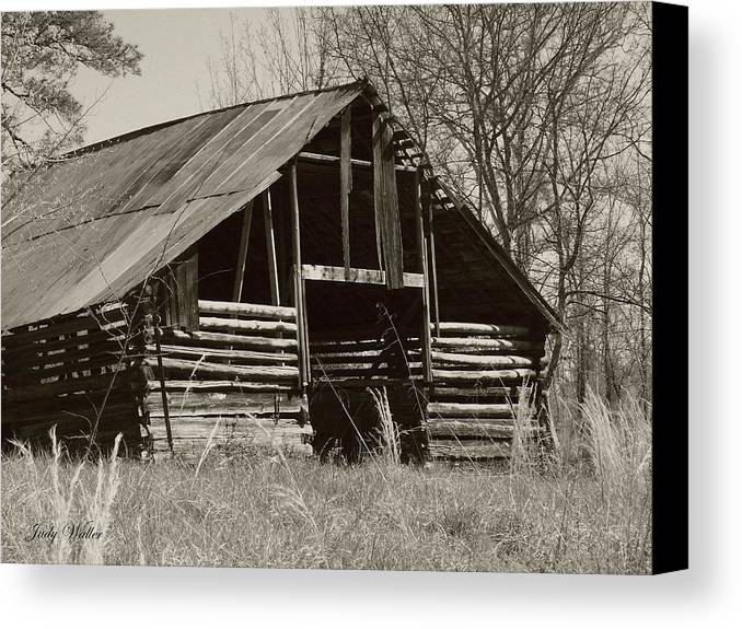Black And White Canvas Print featuring the photograph Forgotten Hay Barn by Judy Waller