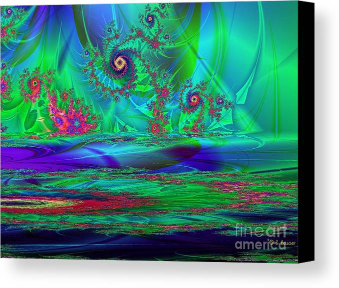 Digital Canvas Print featuring the digital art Fractal Reflections by Sandra Bauser Digital Art