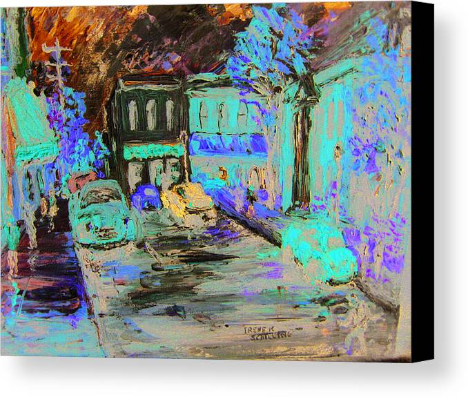 Impressionist Canvas Print featuring the painting French Storefronts by Irene Schilling