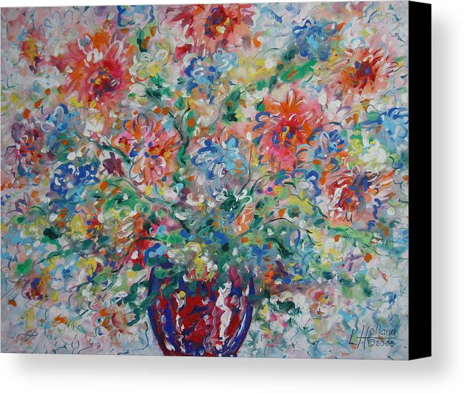 Flowers Canvas Print featuring the painting Fresh Bouquet by Leonard Holland