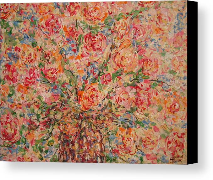 Flowers Canvas Print featuring the painting Full Bouquet. by Leonard Holland