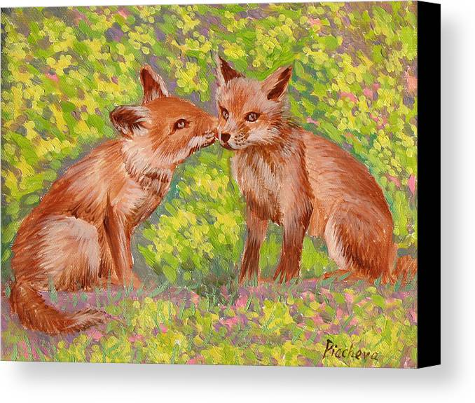 Animals Canvas Print featuring the painting Funny Foxes .2007 by Natalia Piacheva