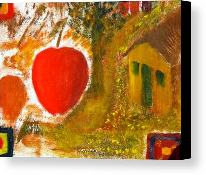 Abstract Apple Adam Ave Canvas Print featuring the painting Garden Of Eden by R B
