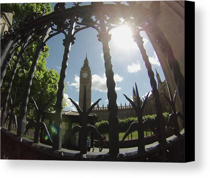 Big Ben Canvas Print featuring the photograph Gated Ben by Eric Reith