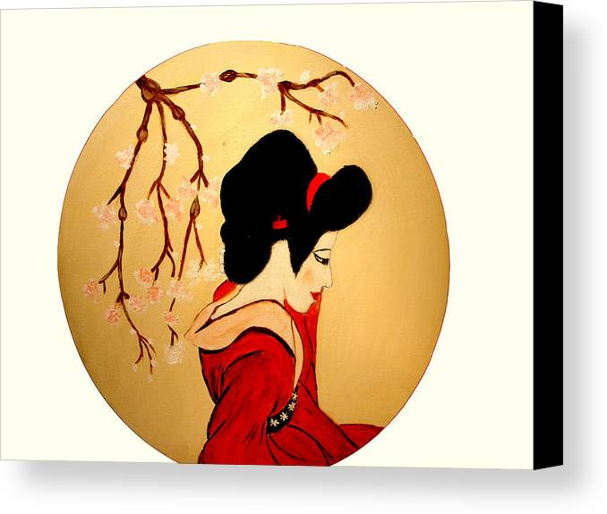 Geisha Girls Canvas Print featuring the painting Geisha Girl by Rusty Gladdish
