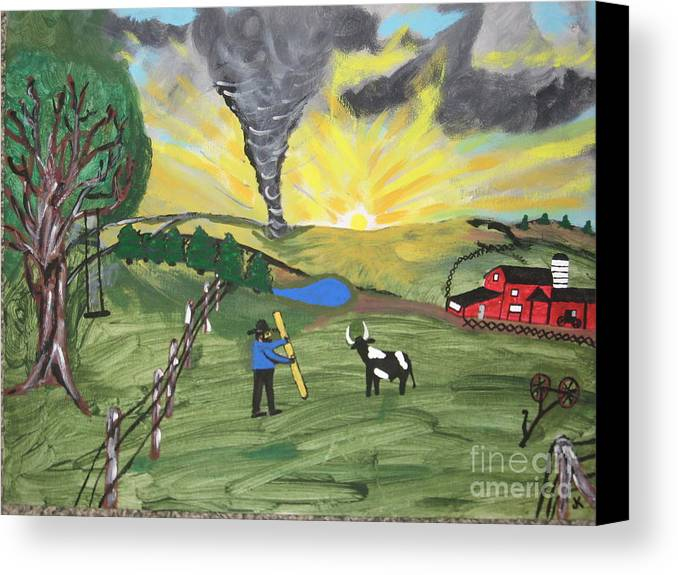 Landscape Canvas Print featuring the painting Get In The Barn by Jeffrey Koss