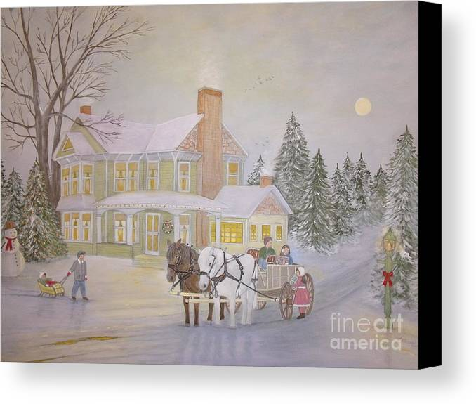 Christmas Scene Canvas Print featuring the painting Gifts On Christmas Eve by Patti Lennox