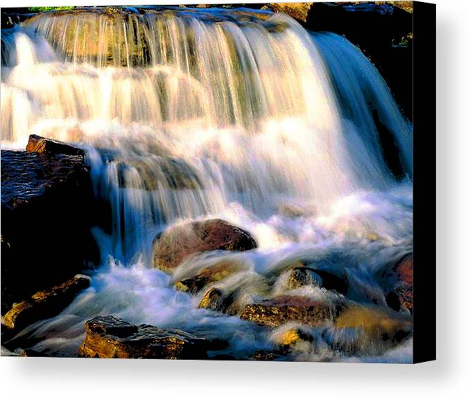 Glacier Canvas Print featuring the photograph Glacier National Park Waterfall by Vicky Brago-Mitchell