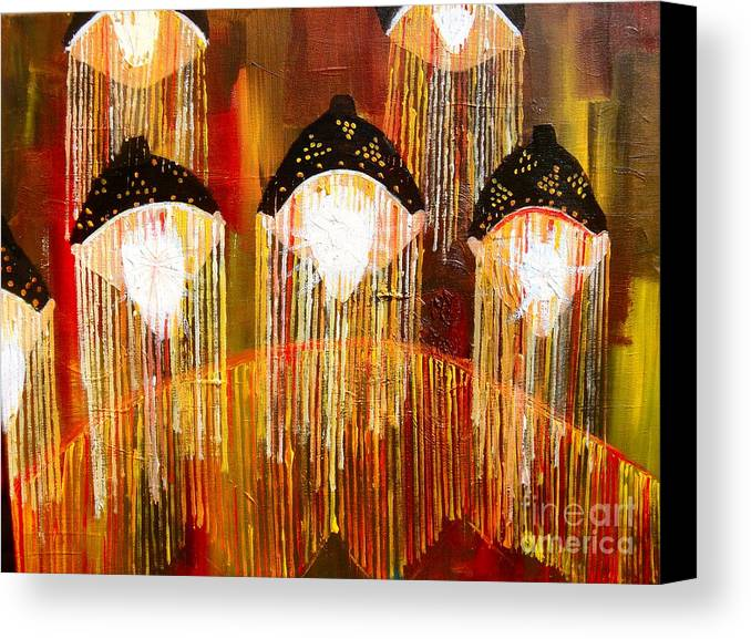 Lights Canvas Print featuring the painting Glass Jellyfish by Sabrina Phillips