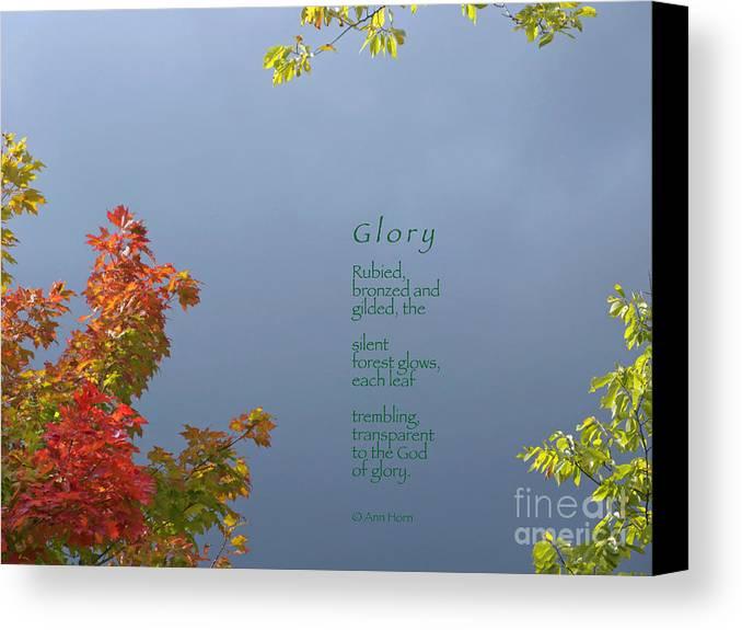 Autumn Canvas Print featuring the photograph Glory by Ann Horn