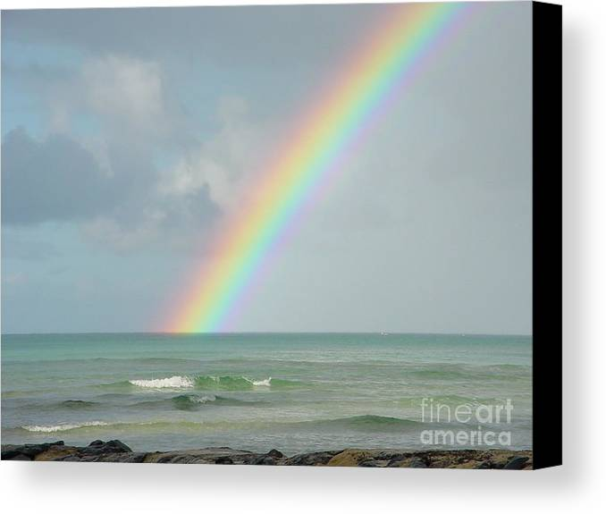 Rainbow Canvas Print featuring the photograph Gods Smile by PJ Cloud