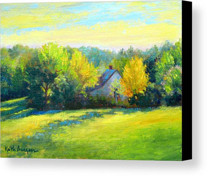 Landscape Canvas Print featuring the painting Golden Evening by Keith Burgess
