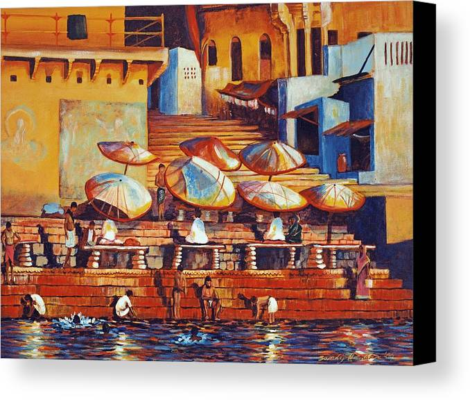 Realist Canvas Print featuring the painting Golden Ganges by Art Nomad Sandra Hansen