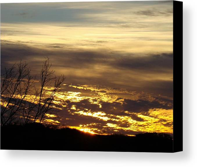 Sunrise Canvas Print featuring the photograph Golden Sunrise One by Ana Villaronga