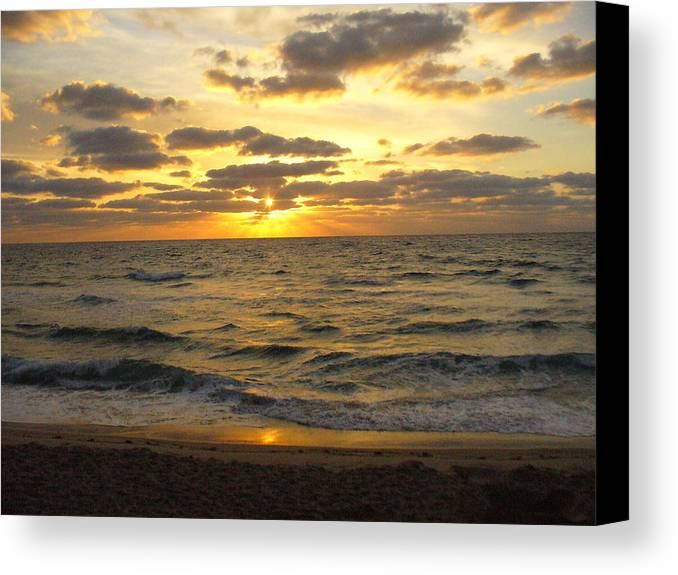 Seahsore Canvas Print featuring the photograph Golden Sunrise by Peggy King