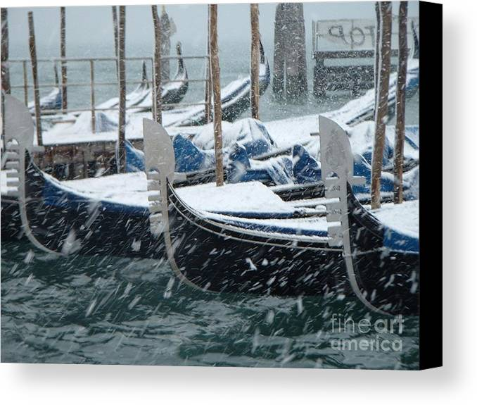 Venice Canvas Print featuring the photograph Gondolas In Venice During Snow Storm by Michael Henderson