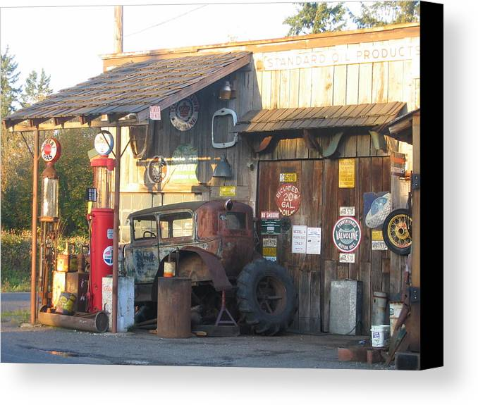Canvas Print featuring the digital art Grandpa's Garage by Barb Morton