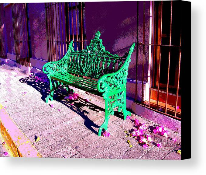 Michael Fitzpatrick Canvas Print featuring the photograph Green Bench By Michael Fitzpatrick by Mexicolors Art Photography