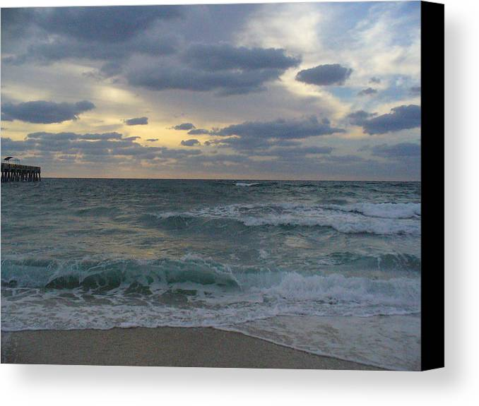 Seascape Canvas Print featuring the photograph Grey Dawn by Peggy King