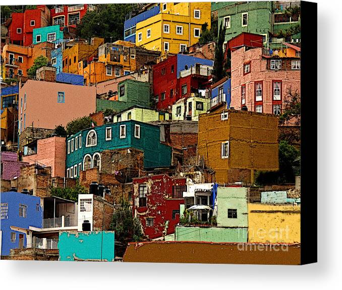 Darian Day Canvas Print featuring the photograph Guanajuato Hillside 4 by Mexicolors Art Photography