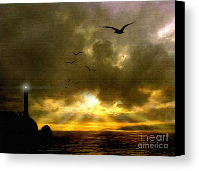 Seascape Canvas Print featuring the painting Gull Flight by Robert Foster