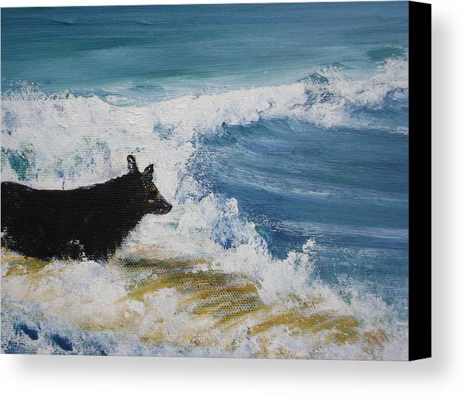 Surfing Canvas Print featuring the painting Hang What Where. by Laura Johnson