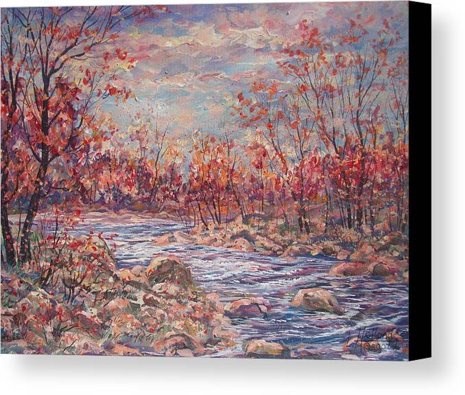Landscape Canvas Print featuring the painting Happy Autumn Days. by Leonard Holland