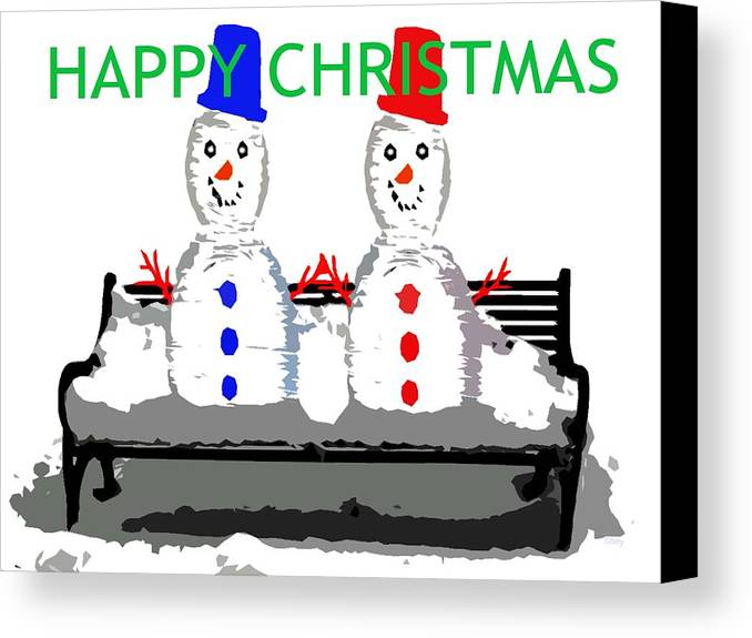 Snowmen Canvas Print featuring the painting Happy Christmas 116 by Patrick J Murphy