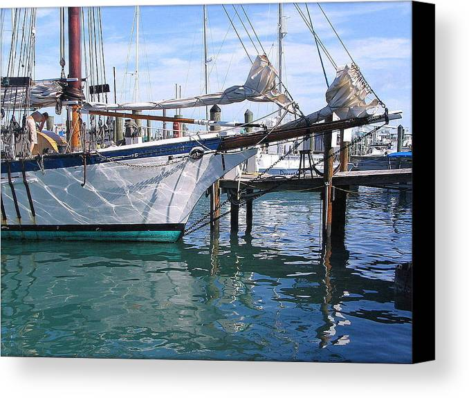 Harbor Canvas Print featuring the photograph Harbor Scene Key West by William Gardner