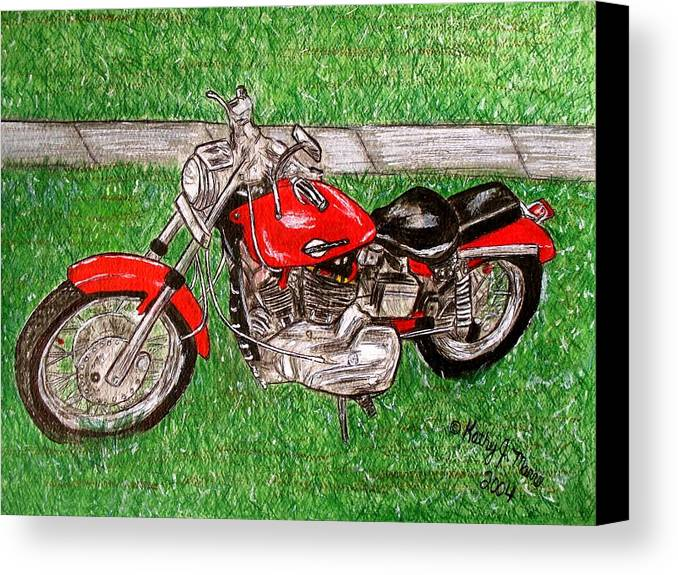 Harley Canvas Print featuring the painting Harley Red Sportster Motorcycle by Kathy Marrs Chandler