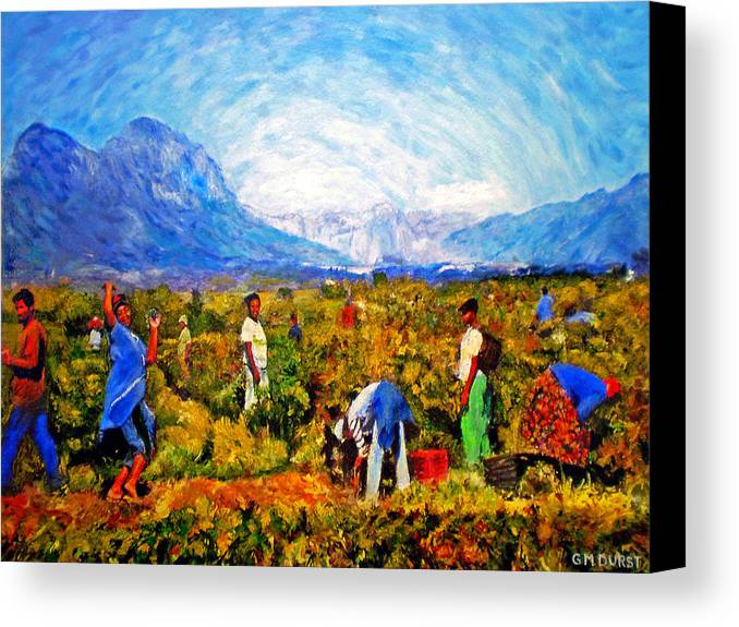 Vineyard Canvas Print featuring the painting Harvest Time by Michael Durst