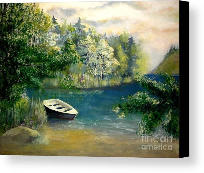 Landscape Canvas Print featuring the painting Hatzec Lake by Vivian Mosley