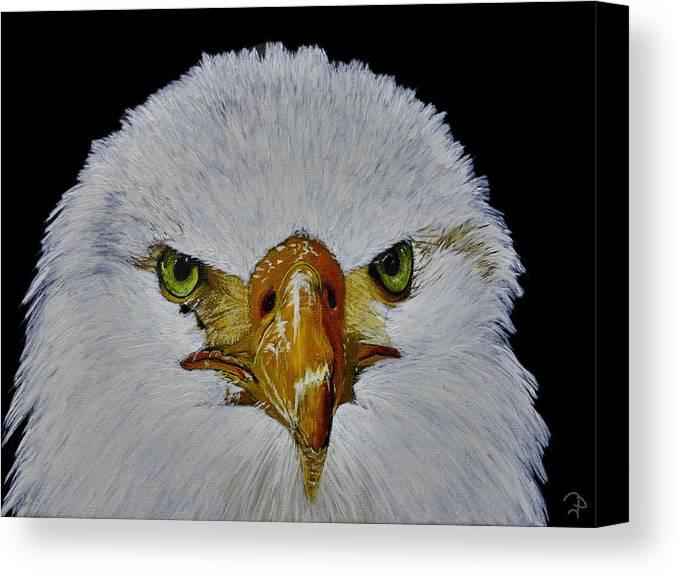 Birgit Jentsch Herzogenaurach Germany Herzolife Herzolife.de Eagle Raptor Bird Wildlife Animal Nature Canvas Print featuring the painting Head Of An Eagle by Birgit Jentsch