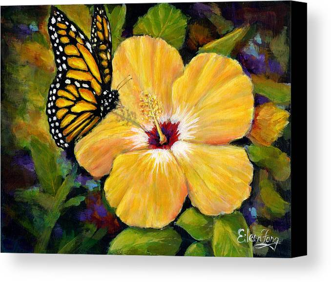 Butterfly Canvas Print featuring the painting Hibiscus With Monarch by Eileen Fong